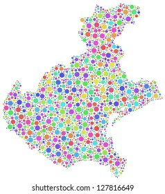 Map of Veneto - italy - in a mosaic of harlequin bubbles. A number of 2326 little circles are accurately inserted into the mosaic. White background.