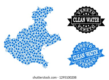Map of Veneto region vector mosaic and clean water grunge stamp. Map of Veneto region designed with blue aqua drops. Seal with grunge rubber texture for clean drinking water.