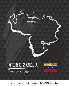 Map of Venezuela, Chalk sketch vector illustration