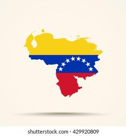 Map of Venezuela in Venezuela flag colors