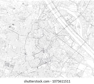 Map of Vienna, city map, Austria. Streets of the capital, satellite view. Wien