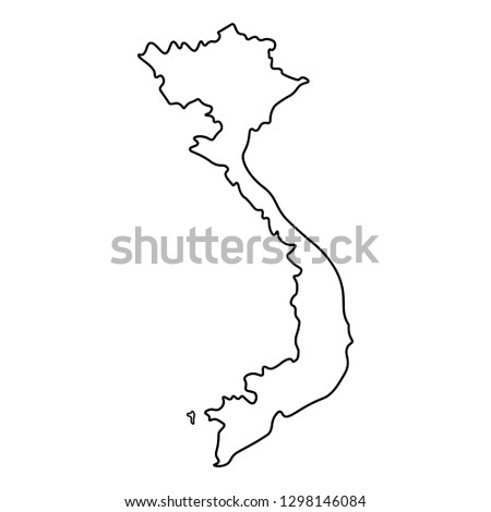 Map Vietnam Outline Silhouette Vietnam Map เวกเตอร์สต็อก (ปลอดค่า