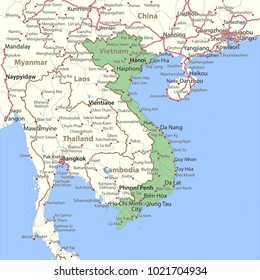 Map of Vietnam. Shows country borders, urban areas, place names and roads. Labels in English where possible.Projection: Mercator.