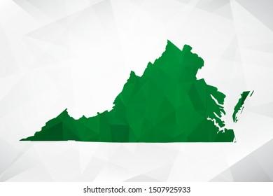 Map of Virginia - Green Geometric Rumpled Triangular , Polygonal Design