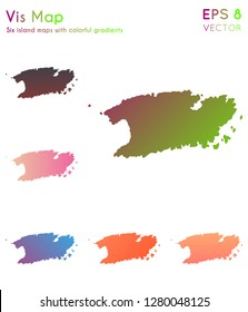 Map of Vis with beautiful gradients. Awesome set of Vis maps. Indelible vector illustration.