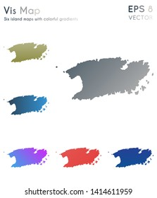 Map of Vis with beautiful gradients. Awesome set of island maps. Immaculate vector illustration.