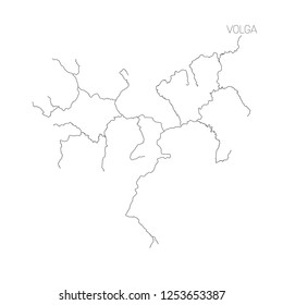 Map of Volga river drainage basin. Simple thin outline vector illustration.
