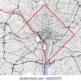 Map Washington city. District of Columbia Roads