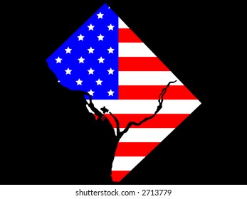 map of Washington DC and American flag illustration