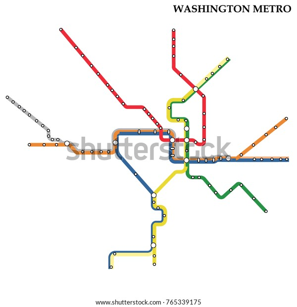 Real Dc Subway Map.Map Washington Dc Metro Subway Template Stock Vector Royalty Free