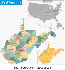 Map of West Virginia state designed in illustration with the counties and the county seats