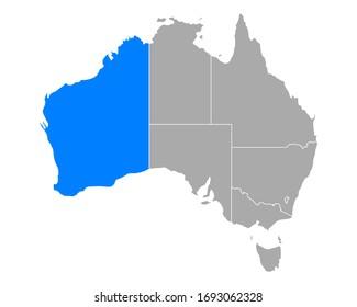 Map of Western Australia in Australia on white