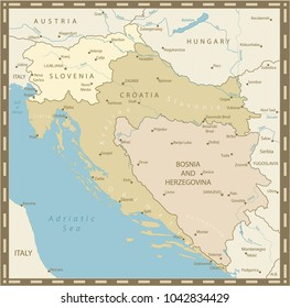 Map of the Western Balkans Vintage Colors. Vector illustration.