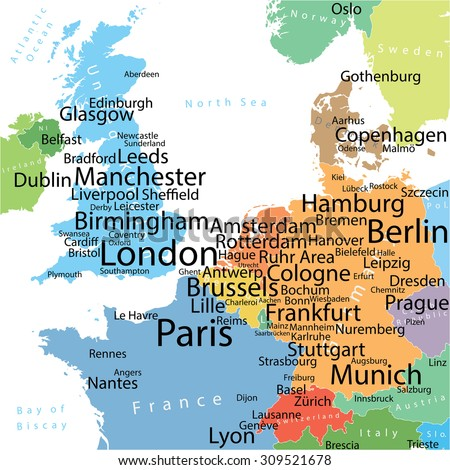 European Map With Major Cities.Map Western Europe Largest Cities Carefully Stock Vector Royalty