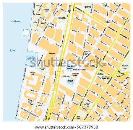 Map Of New York Downtown Manhattan.Map Western Part Downtown Manhattan New Stock Vector Royalty Free