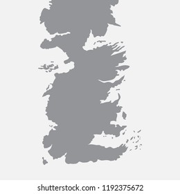Map of Westeros country in gray. Vector illustration.