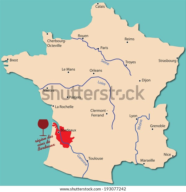 Map Of France Showing Bordeaux.Map Wine Region Bordeaux France Stock Vector Royalty Free 193077242