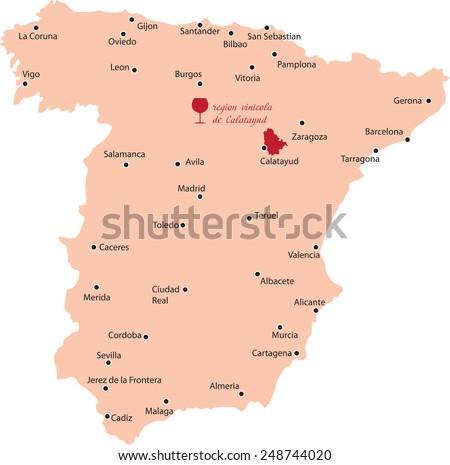 Calatayud Spain Map.Map Wine Region Calatayud Spain Stock Vector Royalty Free