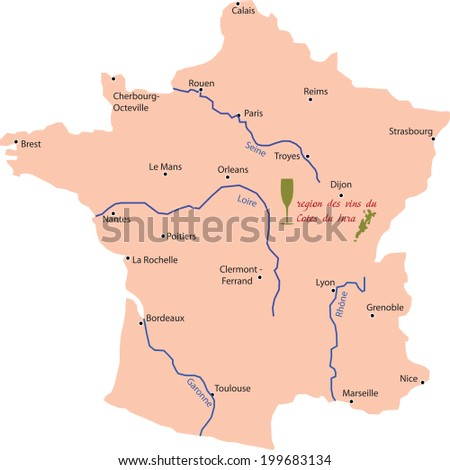 Map Of France Jura.Map Wine Region Jura France Stock Vector Royalty Free 199683134