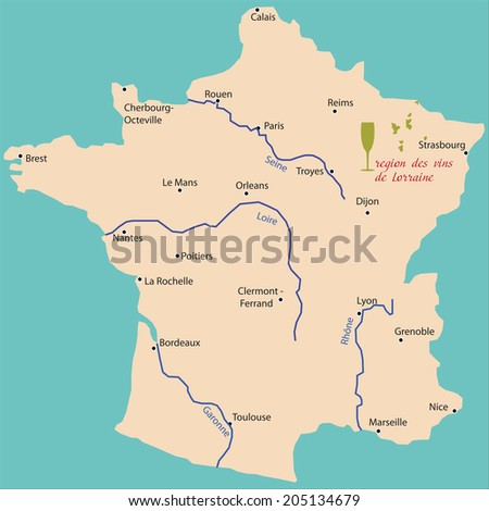 Map Wine Region Lorraine France Stock Vector Royalty Free
