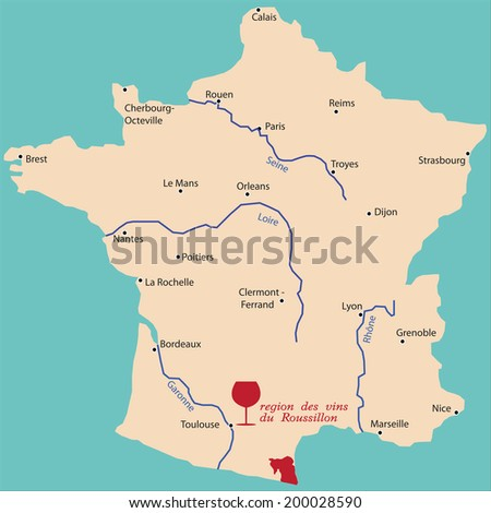 Roussillon France Map.Map Wine Region Roussillon France Stock Vector Royalty Free