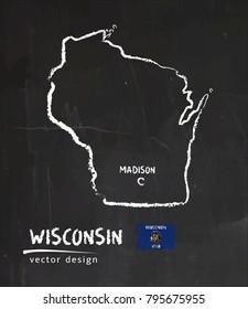 Map of Wisconsin, Chalk sketch vector illustration