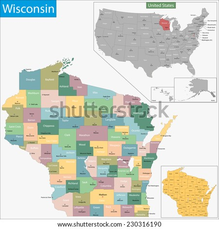 Map Wisconsin State Designed Illustration Counties Stock Vector ...