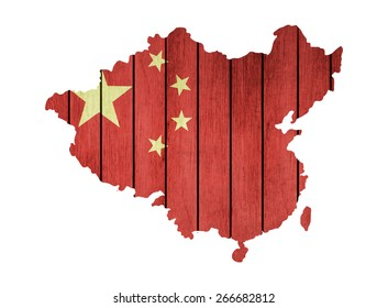 Map With Wooden Flag Of China
