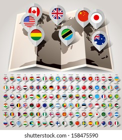 Map world with 108 flags. Vector illustration 10eps