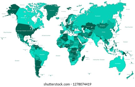 world map continents oceans Images, Stock Photos & Vectors ...