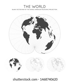 Map of The World. American polyconic projection. Globe with latitude and longitude lines. World map on meridians and parallels background. Vector illustration.