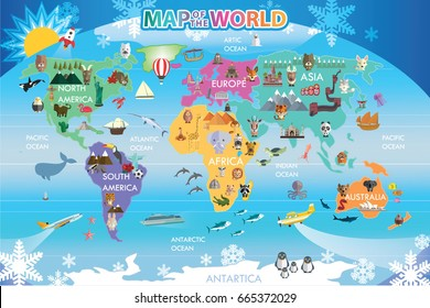 Map world animal
