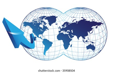 Map of the world and arrow