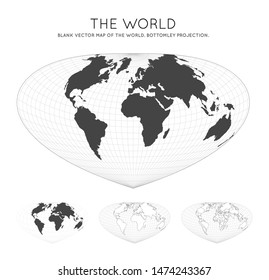 Map of The World. Bottomley projection. Globe with latitude and longitude lines. World map on meridians and parallels background. Vector illustration.