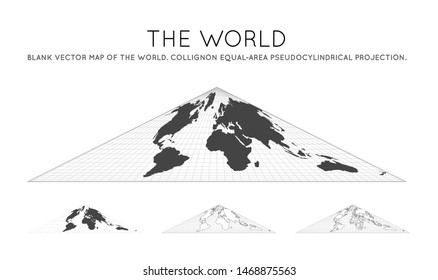 Map of The World. Collignon equal-area pseudocylindrical projection. Globe with latitude and longitude lines. World map on meridians and parallels background. Vector illustration.