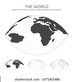 Map of The World. Craig retroazimuthal projection. Globe with latitude and longitude lines. World map on meridians and parallels background. Vector illustration.