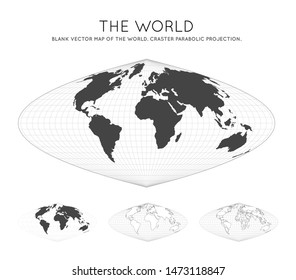 Map of The World. Craster parabolic projection. Globe with latitude and longitude lines. World map on meridians and parallels background. Vector illustration.