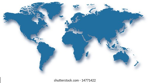 map of the world with drop shadow and transparency - vector illustration