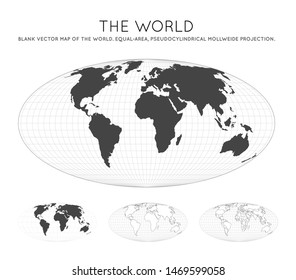 Map of The World. Equal-area, pseudocylindrical Mollweide projection. Globe with latitude and longitude lines. World map on meridians and parallels background. Vector illustration.