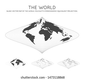 Map of The World. Foucaut's stereographic equivalent projection. Globe with latitude and longitude lines. World map on meridians and parallels background. Vector illustration.