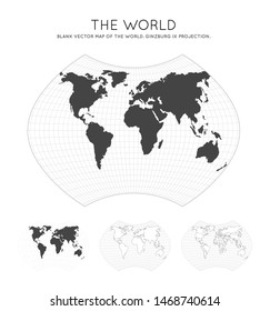 Map of The World. Ginzburg IX projection. Globe with latitude and longitude lines. World map on meridians and parallels background. Vector illustration.