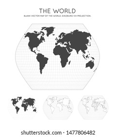 Map of The World. Ginzburg VIII projection. Globe with latitude and longitude lines. World map on meridians and parallels background. Vector illustration.