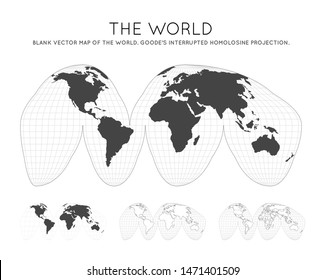 Map of The World. Goode's interrupted homolosine projection. Globe with latitude and longitude lines. World map on meridians and parallels background. Vector illustration.