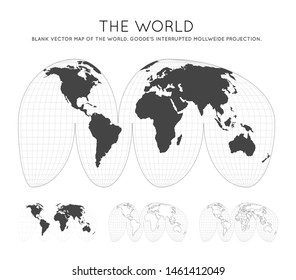 Map of The World. Goode's interrupted Mollweide projection. Globe with latitude and longitude lines. World map on meridians and parallels background. Vector illustration.