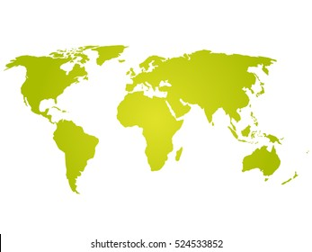 Map of World. Green silhouette vector illustration with gradient on white background. Simple flat vector illustration.