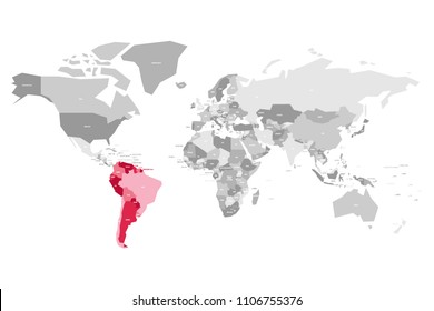 Map of World in grey colors with red highlighted countries of South America. Vector illustration.
