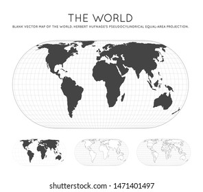 Map of The World. Herbert Hufnage's pseudocylindrical equal-area projection. Globe with latitude and longitude lines. World map on meridians and parallels background. Vector illustration.