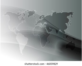Map of the world illustration, with wavy gradient curves
