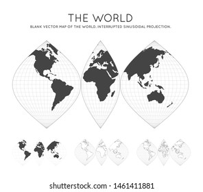 Map of The World. Interrupted sinusoidal projection. Globe with latitude and longitude lines. World map on meridians and parallels background. Vector illustration.