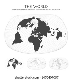 Map of The World. Jacques Bertin's 1953 projection. Globe with latitude and longitude lines. World map on meridians and parallels background. Vector illustration.